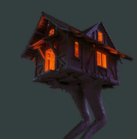 baba yaga s cottage on a chicken leg wip by ikkiz-d5ox377